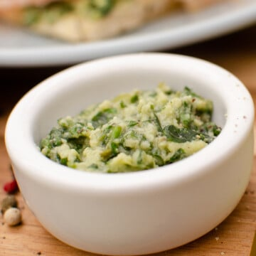 Parmesan and Basil Pesto in a white bowl