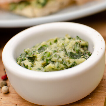 Parmesan and Basil Pesto in a white bowl