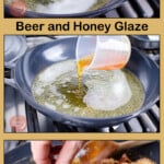 Sticky Beer and Honey Glaze Collage pictures of how we made our