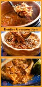 Collage of pictures of our Bonfire Gammon Stew