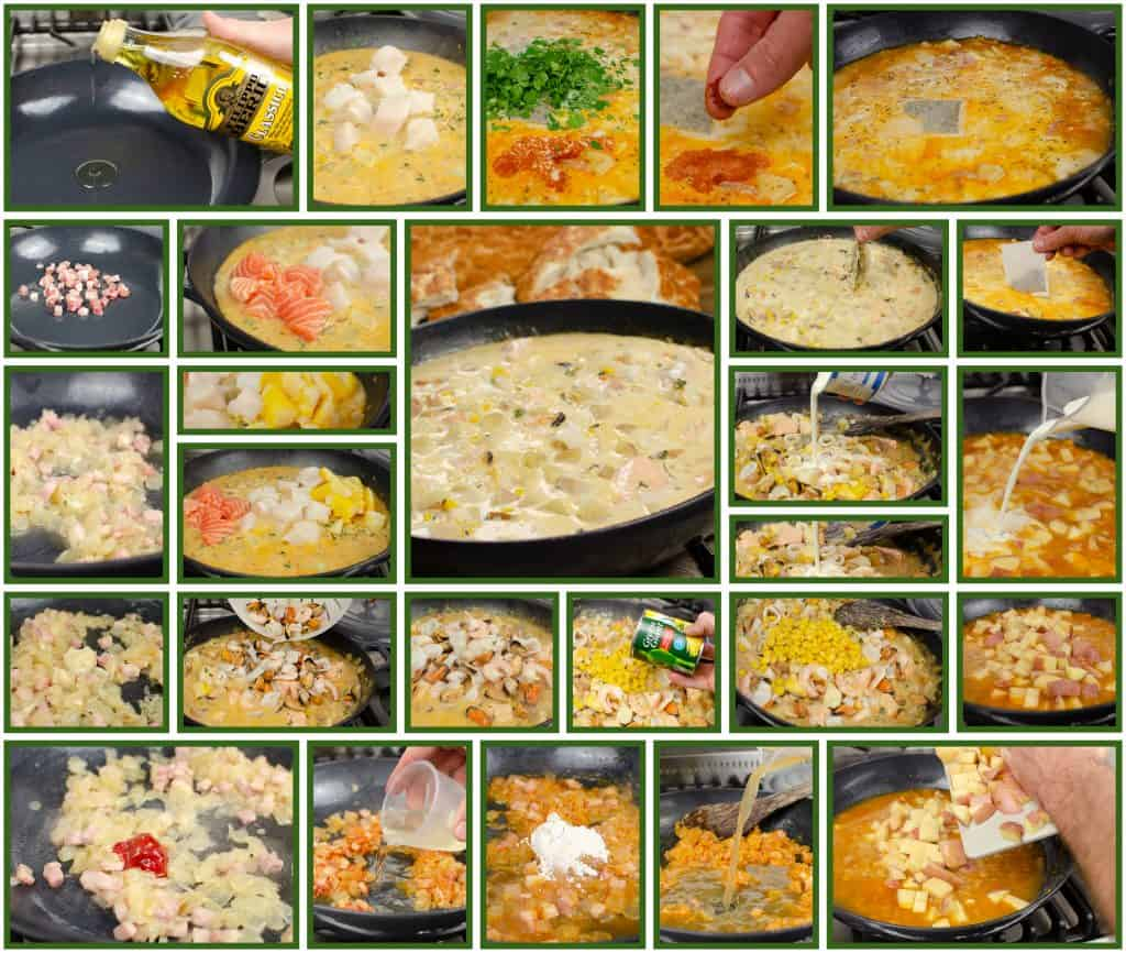 step by step images of our fish Chowder Bread Boat  recipe, olive oil, pancetta, salmon, cod, haddck, prawns, mussels, squid, potatoes, cream, parsley, fish stock, paprika all cooking in a cast iron dish