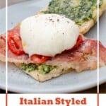 Pin image of our Italian Styled Eggs Benedict served on a blue plate for breakfast