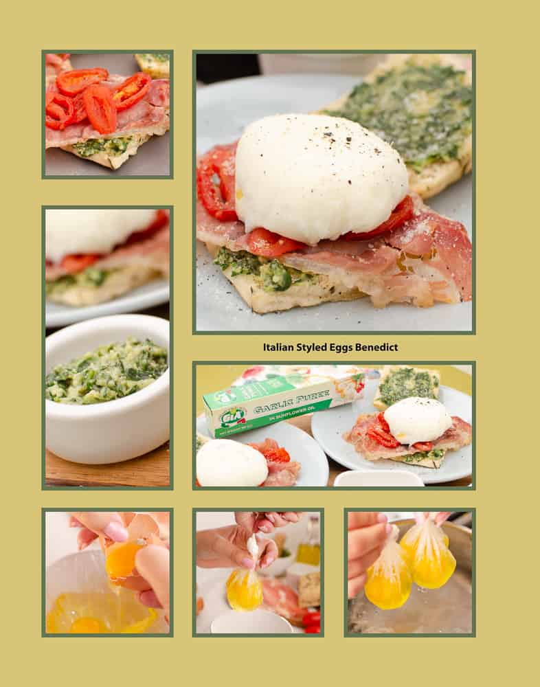collage of pictures of how we made our Italian styled Eggs Benedict