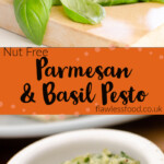 Pin image of our Nut Free Parmesan & Basil Pesto being made with basil leaves being chopped up with a silver cutter and the made sauce in a small white pot