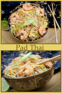 pad thai served in coconut bowl