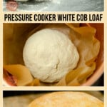Homemade White Cob Loaf being cooked in a pressure cooker