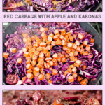 Collage of pictures of our Red Cabbage with Apple and Kabonas Sausage