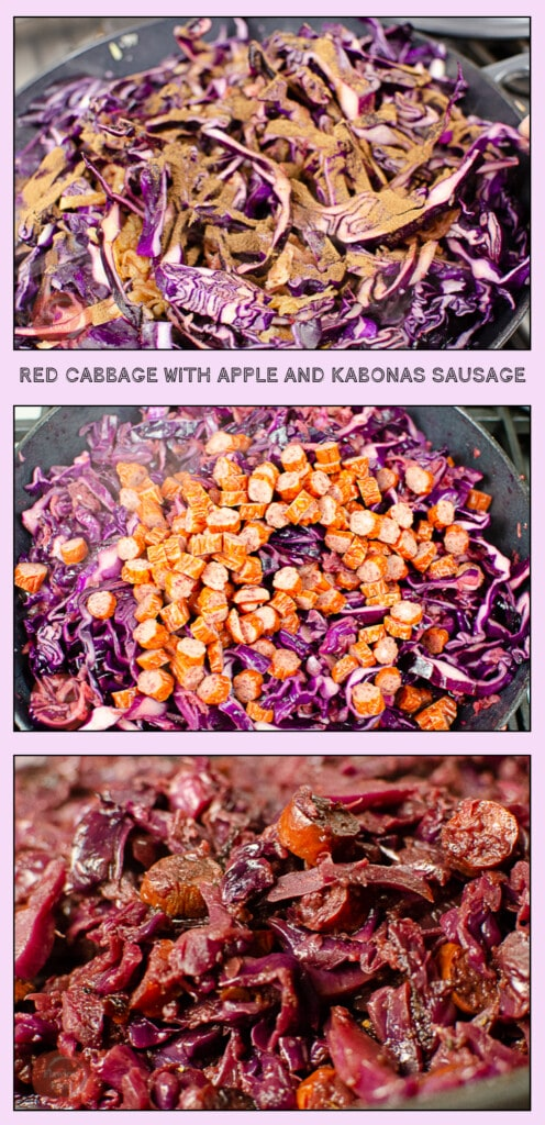 Collage of our Red Cabbage with Apple and Kabonas Sausage