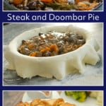 Collage of pictures of our Steak and Doombar Pie
