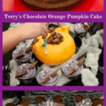 Collage of pictures of how we made our Terry's Chocolate Orange Pumpkin Cake