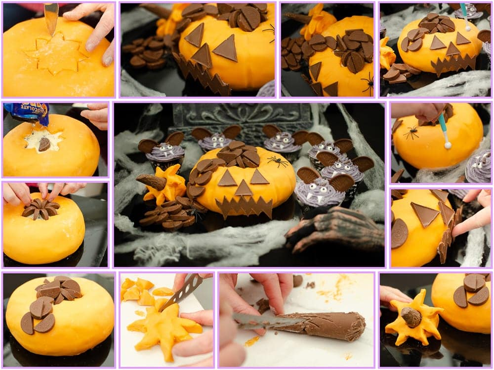 Terry's Chocolate Orange Pumpkin Cake final decoration step by step pictures of how we made the cake