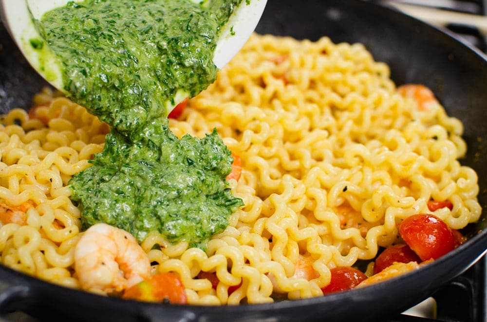 Parmesan & Basil Pesto used in pasta dish