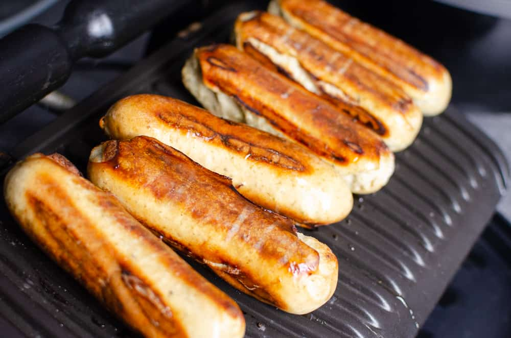 beer and honey glazed bratwurst sausages cooked and ready on the tefal opti grill