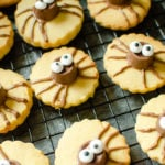 Cute Spider Halloween Biscuit's on marble worktop using Rolo Chocolate and edible sweet eyes