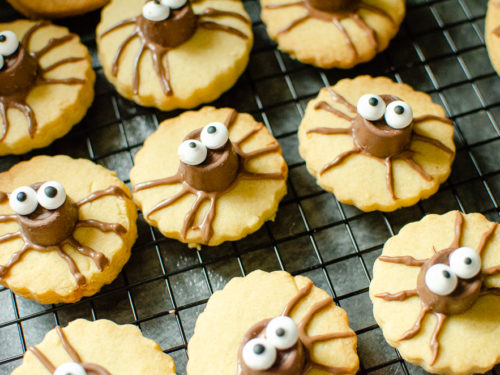 Cute Spider Halloween Biscuit's on marble worktop using Rolo Chocolate