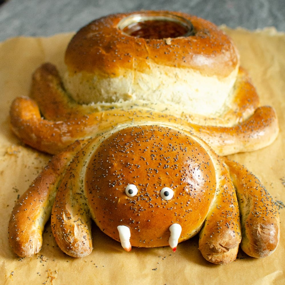 Halloween Spider Bread on a wooden chopping board