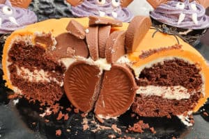Terry's Chocolate Orange pumpkin cake cut in half