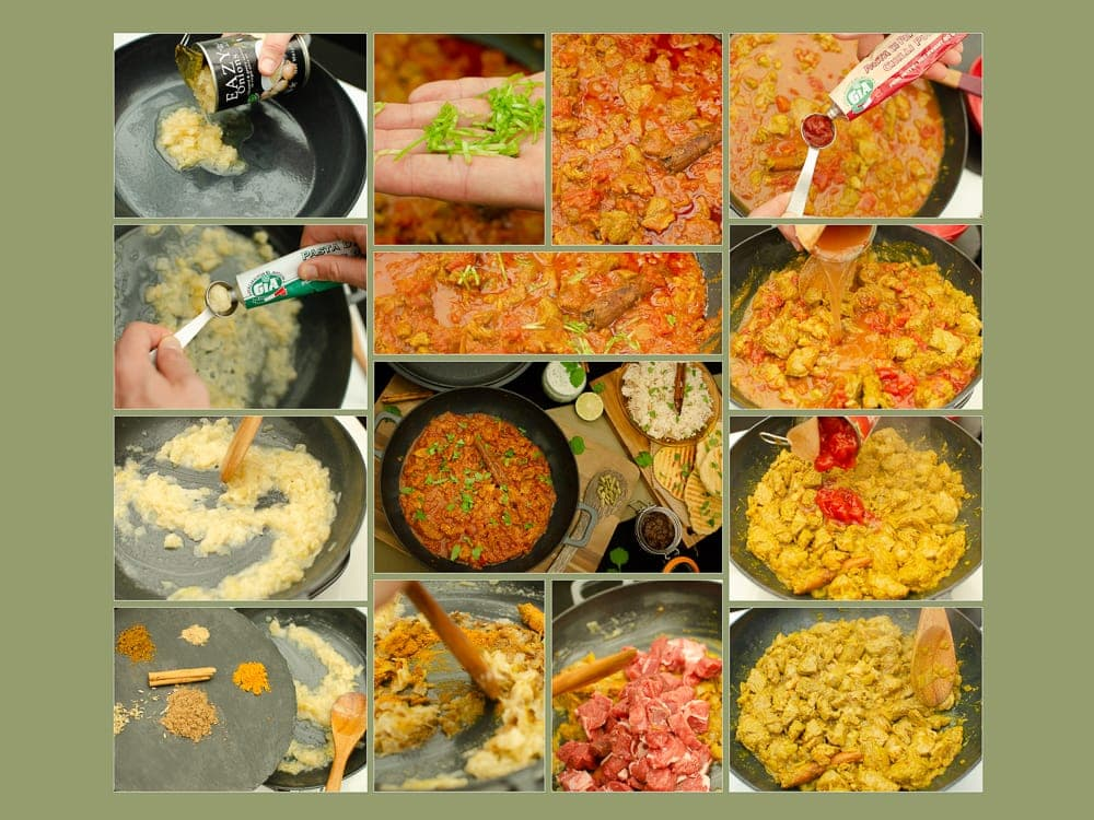 Collage of pictures of how we made our Homemade Lamb Curry