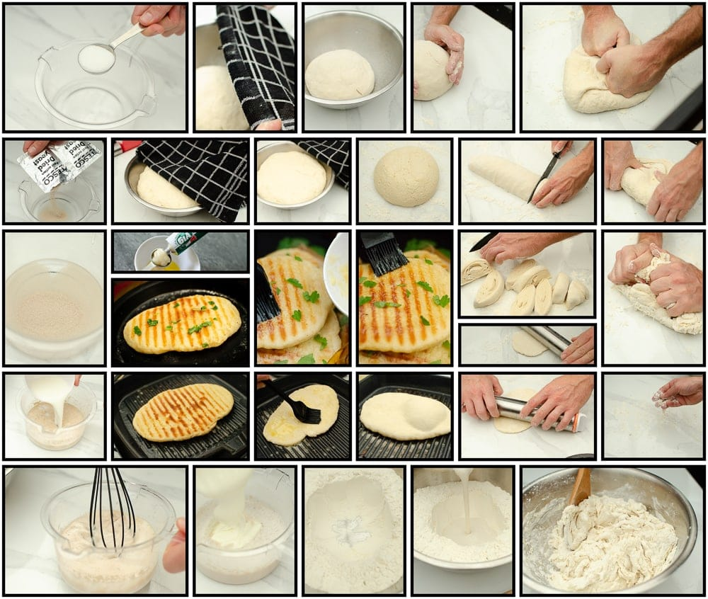 Step by step collage of how to make Homemade Garlic naan bread