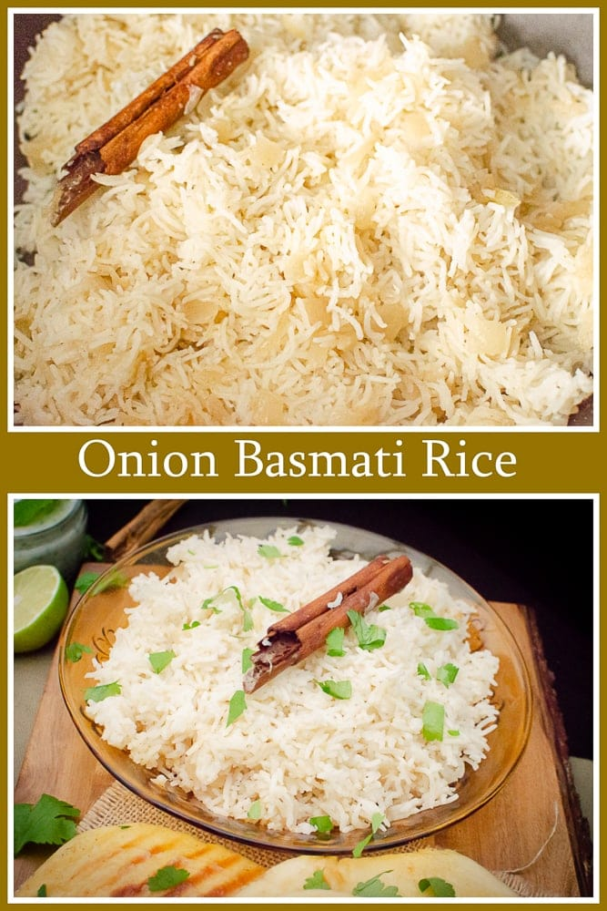 Collage of pictures of our Onion Basmati Rice