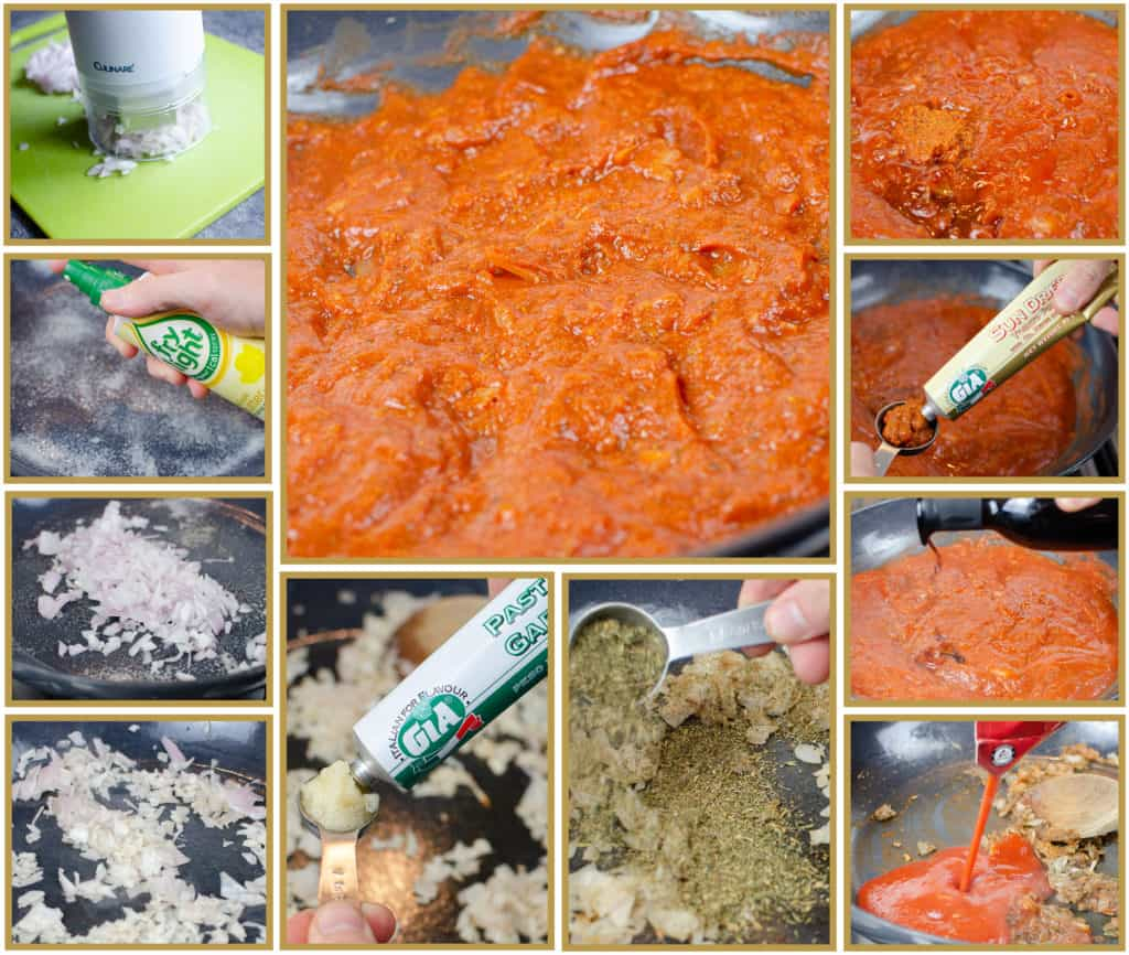 Step by step images of making a homemade tomato based pasta sauce using Shallots Gia Garlic Puree, Gia Sundried Tomato Puree, Macetilla Sherry Vinegar, herbs and Passata