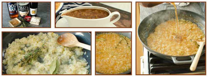 Collage of pictures of how we made our Eazy onion and Ale Gravy