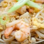 Pad Thai, Prawn, noodles, spring onions, egg, beansprouts in coconut shell bowl