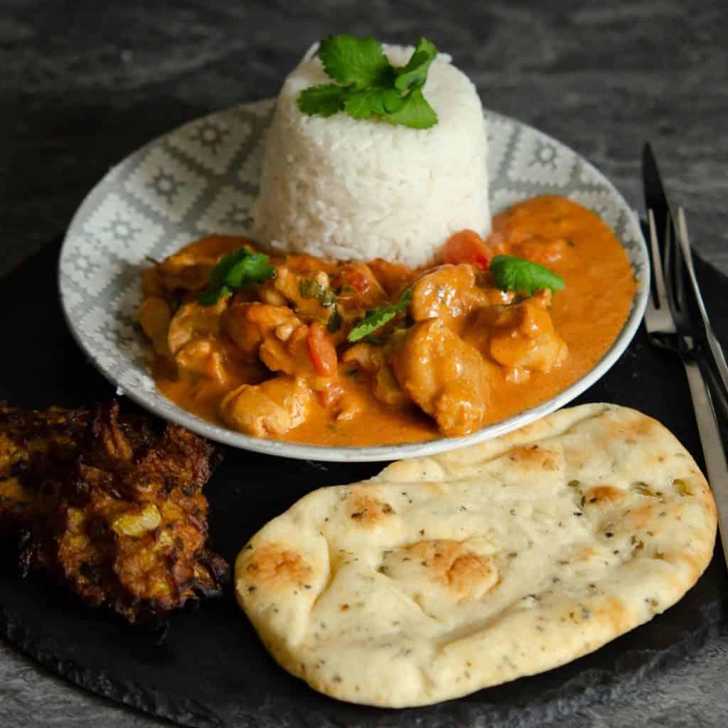 Easy Peanut Chicken Curry with Onion Bhaji and basmalti rice