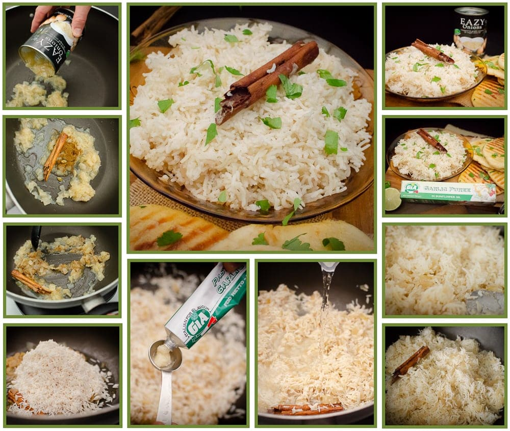 Collage of pictures of how we made our Onion Basmati Rice