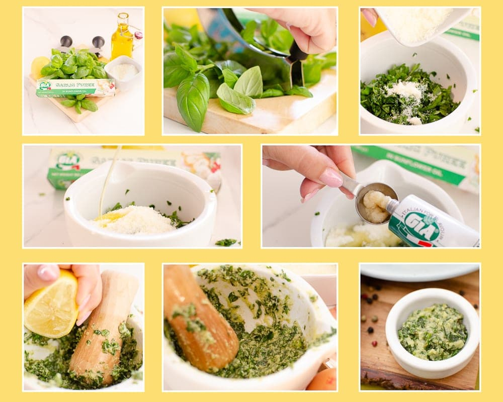Step by step collage of Parmesan & Basil Pesto