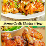 Collage of pictures of our Honey Garlic Chicken Wings