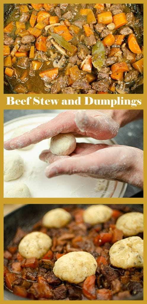 Collage of pictures of our Beef and Red wine stew with Dumplings