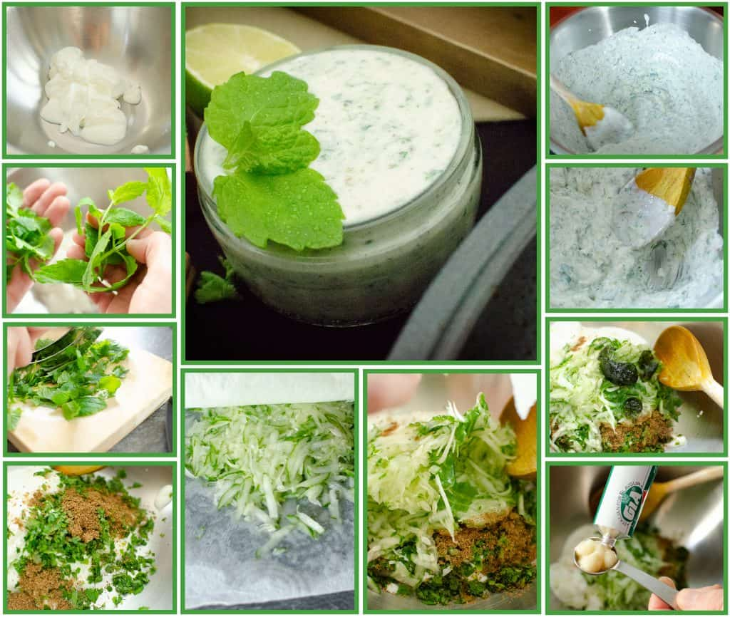 Collage of step by step images of how to make the Cucumber and Mint Raita