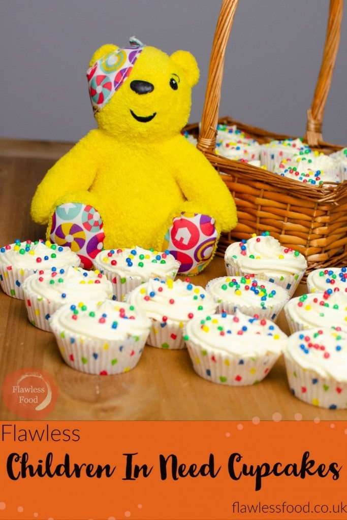 Image of Pudsey bear and our children in need cupcakes for pinterest