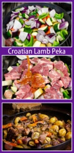 Collage of pictures of our Croatian Lamb Peka