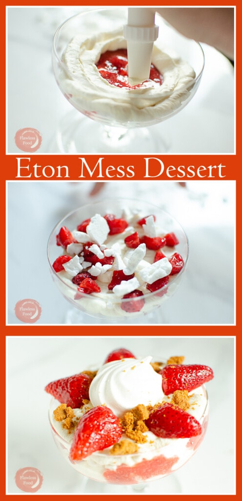 Collage of pictures of our Eton Mess Dessert