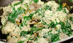 Cream cheese mixed in with the mushrooms, spinach and onions
