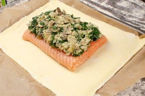 cream cheese filling placed on top of the salmon