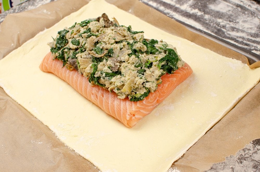 whole side of salmon with mushroom, spinach and cream cheese filling