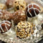 milk chocolate truffle served on silver platter
