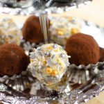 Mixture of our chocolate truffles served on a silver serving tray