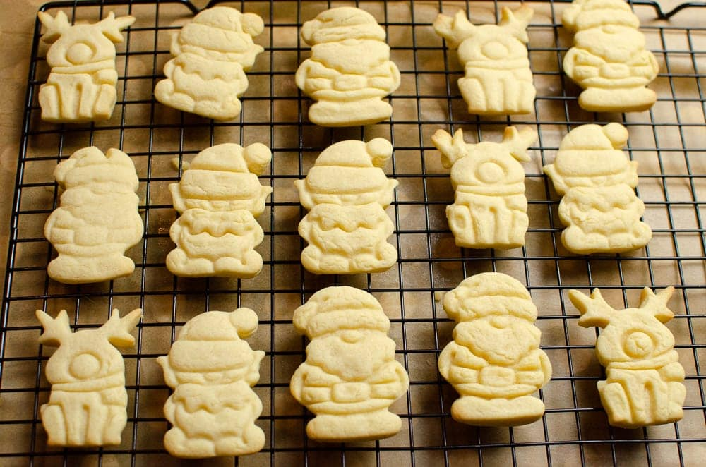 Baked Christmas Biscuits ready to be Iced Joie Christmas Cutters