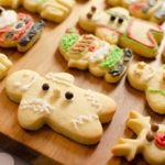 Iced christmas biscuits gingerbread men decorated with royal icing