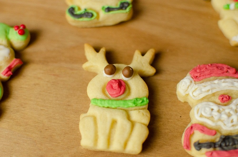 Christmas Biscuits Joie Reindeer decorated with royal icing Xmas Cookies