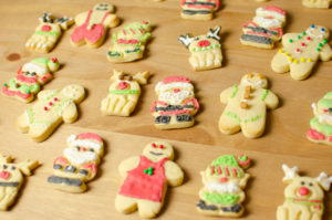 Iced Christmas biscuits decorated with royal icing