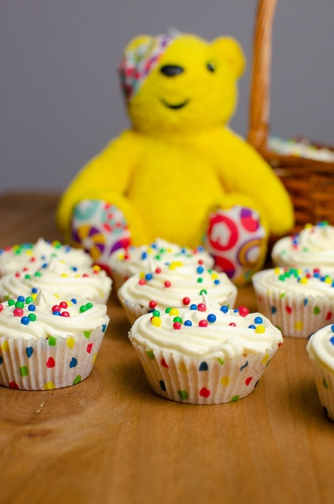 Simple vanilla sponge cupcakes with vanilla buttercream, decorated for Children in Need.