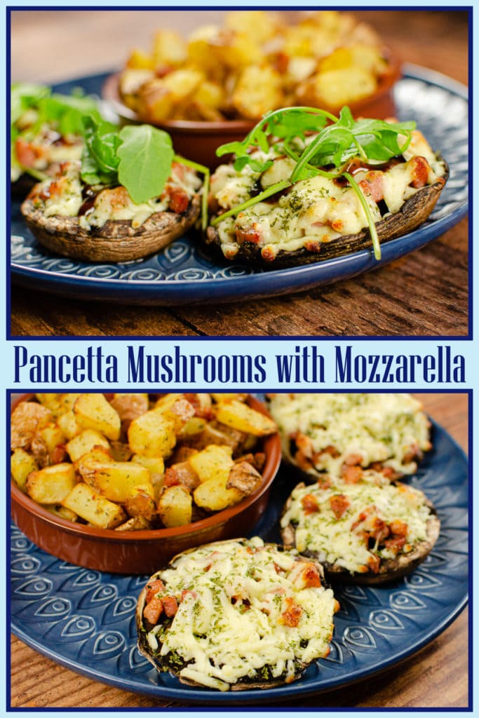 Collage pictures of our Pancetta Mushrooms with Mozzarella