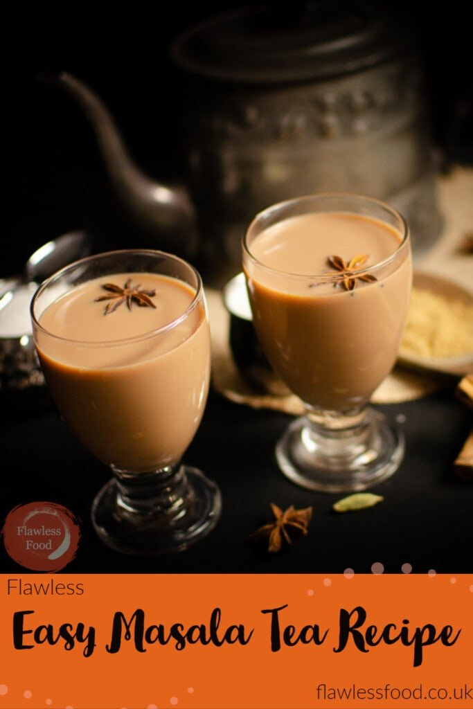 Easy Masala Tea Recipe pinterest image served in glasses with star anise on top