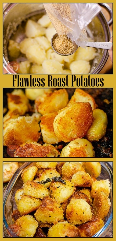 Collage pictures of our Flawless Roast Potatoes
