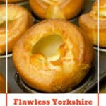 Pinterest image of our Flawless Yorkshire Puddings cooked on a silver baking tray
